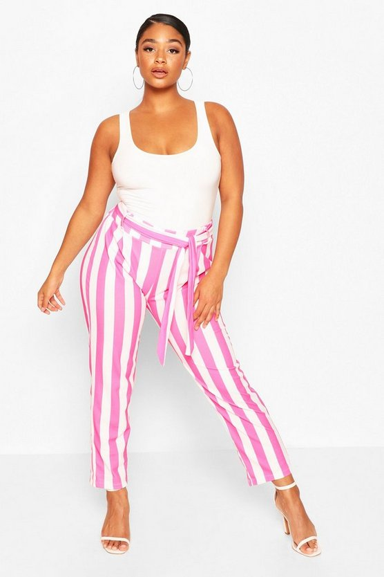 Womens Pink Plus Striped Culotte