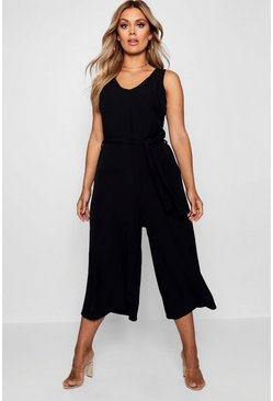 Womens Black Plus  Plunge Culotte Jumpsuit