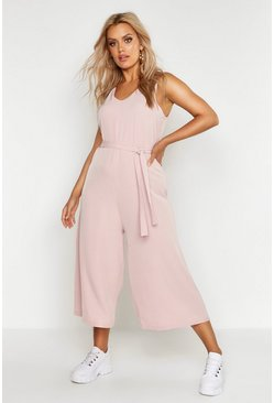 Womens Hot pink Plus  Plunge Culotte Jumpsuit