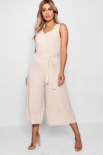 Womens Tan Plus  Plunge Culotte Jumpsuit