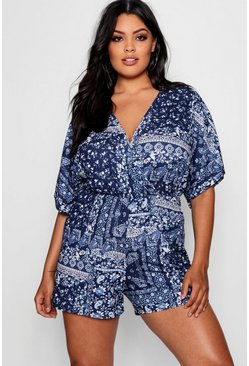 Womens Blue Plus Scarf Print Wrap Playsuit