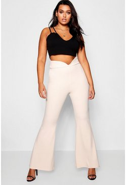 Womens Nude Plus  V Thigh Waist Flare Trouser
