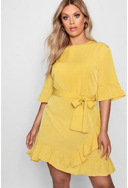 Womens Mustard Plus Ruffle Wrap Dress