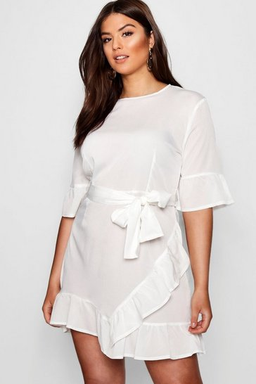 Womens White Plus Ruffle Wrap Dress