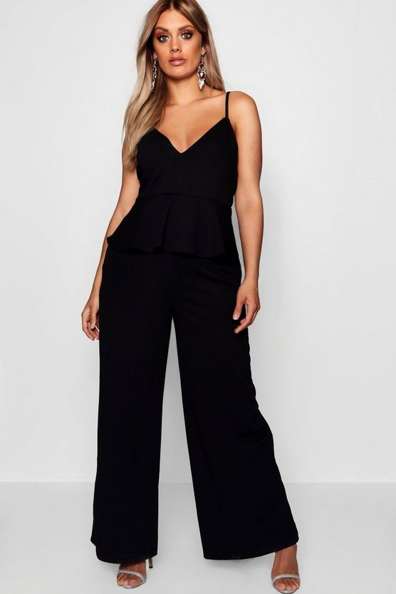 Plus Strappy Peplum Jumpsuit