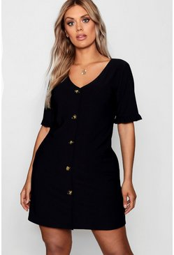 Womens Black Plus Frill Sleeve Horn Button Shift Dress