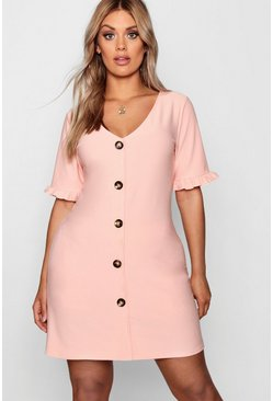 Womens Peach Plus Frill Sleeve Horn Button Shift Dress