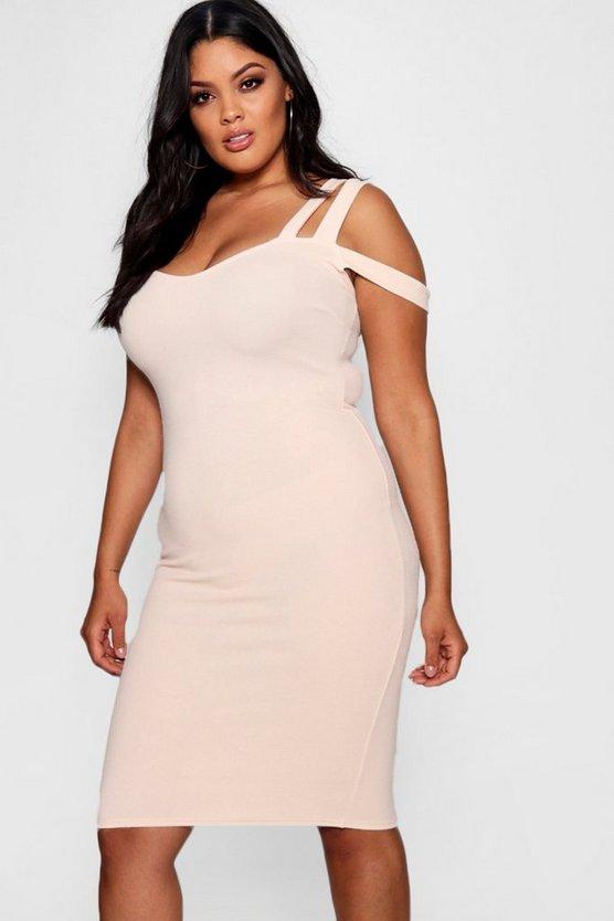 Plus Double Strap Off Shoulder Midi Dress Plus Double Strap Off Shoulder Midi Dress by Boohoo