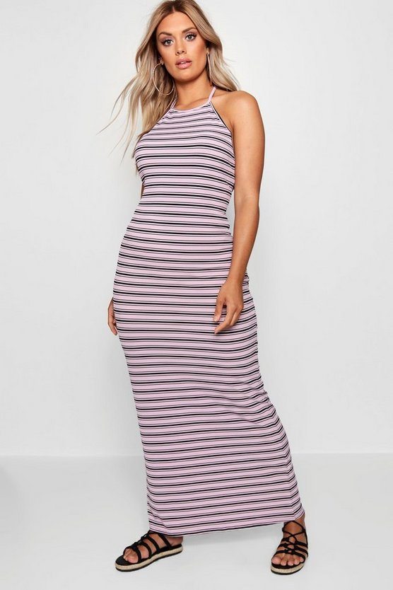 Plus Stripe Rib Maxi Dress