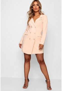 Baby pink Plus  Scuba Blazer Dress