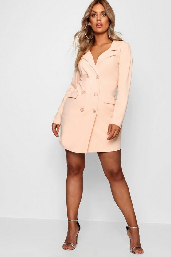 Womens Baby pink Plus  Scuba Blazer Dress