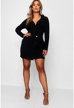 Womens Black Plus  Scuba Blazer Dress