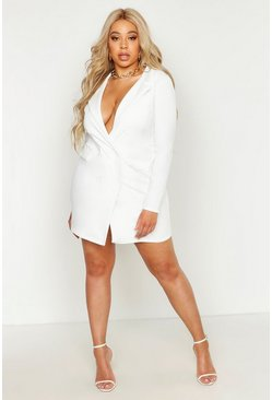 White Plus  Scuba Blazer Dress