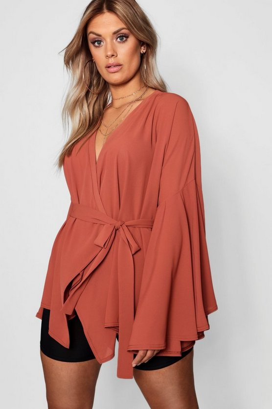 Womens Caramel Plus Aisley Wide Sleeve Wrap Front Tie Top