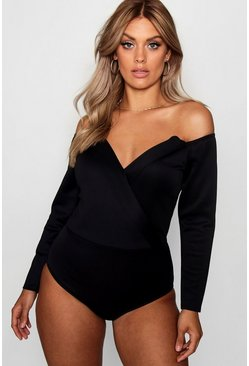 Womens Black Plus Wrap Front Plunge Structured Bodysuit