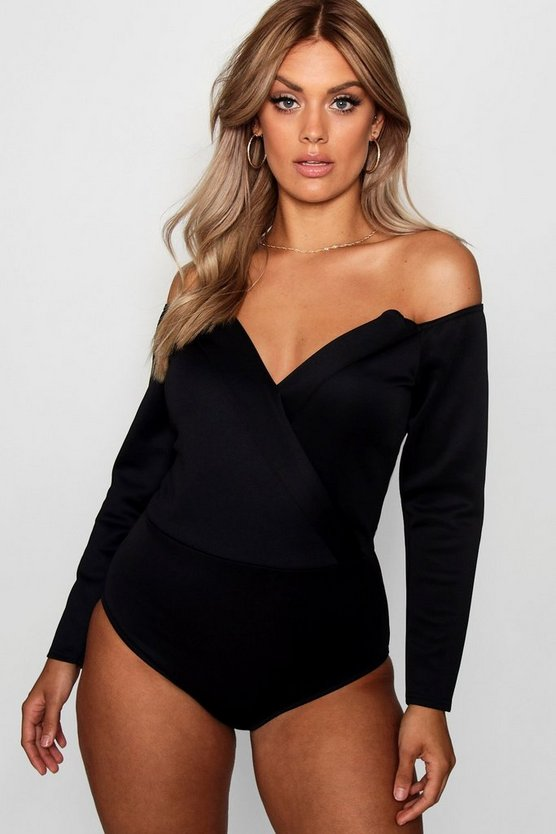 Plus Wrap Front Plunge Structured Bodysuit