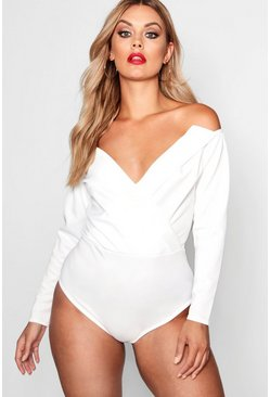 Womens White Plus Wrap Front Plunge Structured Bodysuit