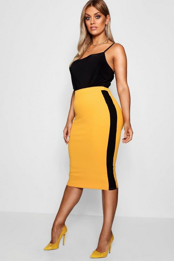 Plus Sports Stripe Midi Skirt