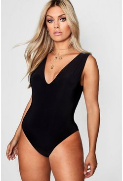 Womens Black Plus  Plunge Neck Double Layer Bodysuit