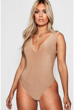 Womens Caramel Plus  Plunge Neck Double Layer Bodysuit