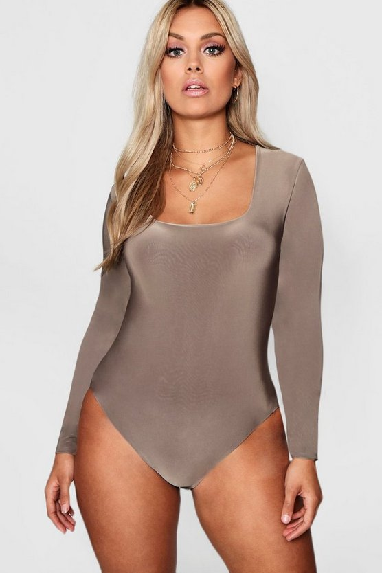 Body con cuello cuadrado de capa doble Plus