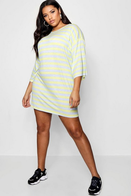 Plus Kimono Sleeve Stripe T Shirt Dress