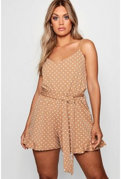Womens Camel Plus Spot Print Ruffle Hem Playsuit