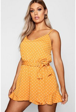 Womens Mustard Plus Spot Print Ruffle Hem Playsuit