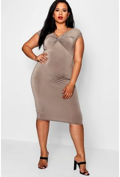 Womens Mocha Plus Twist Front Slinky Midi Dress