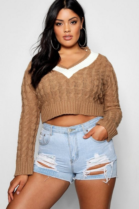 Plus V Neck Trim Cable Knit Crop Jumper