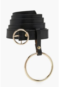 Womens Gold Plus  Double O Ring Boyfriend Belt
