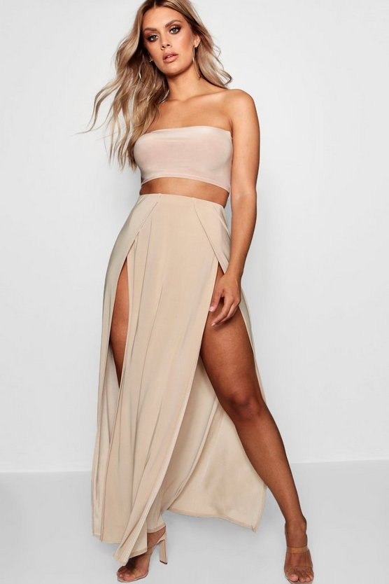 Plus Slinky Double Slit Maxi Skirt
