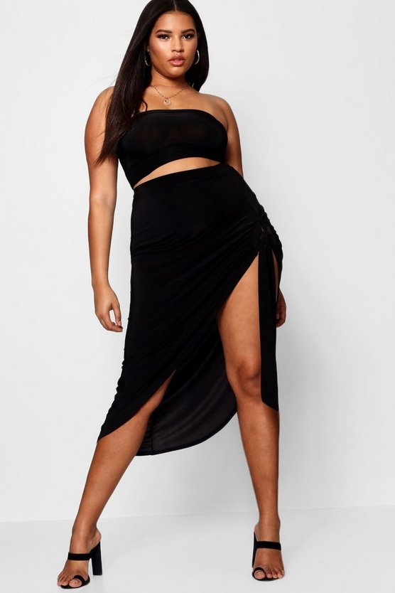 Plus Tie Side Asymmetric Maxi Skirt