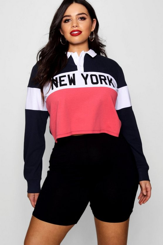 Plus New York Slogan Polo Top