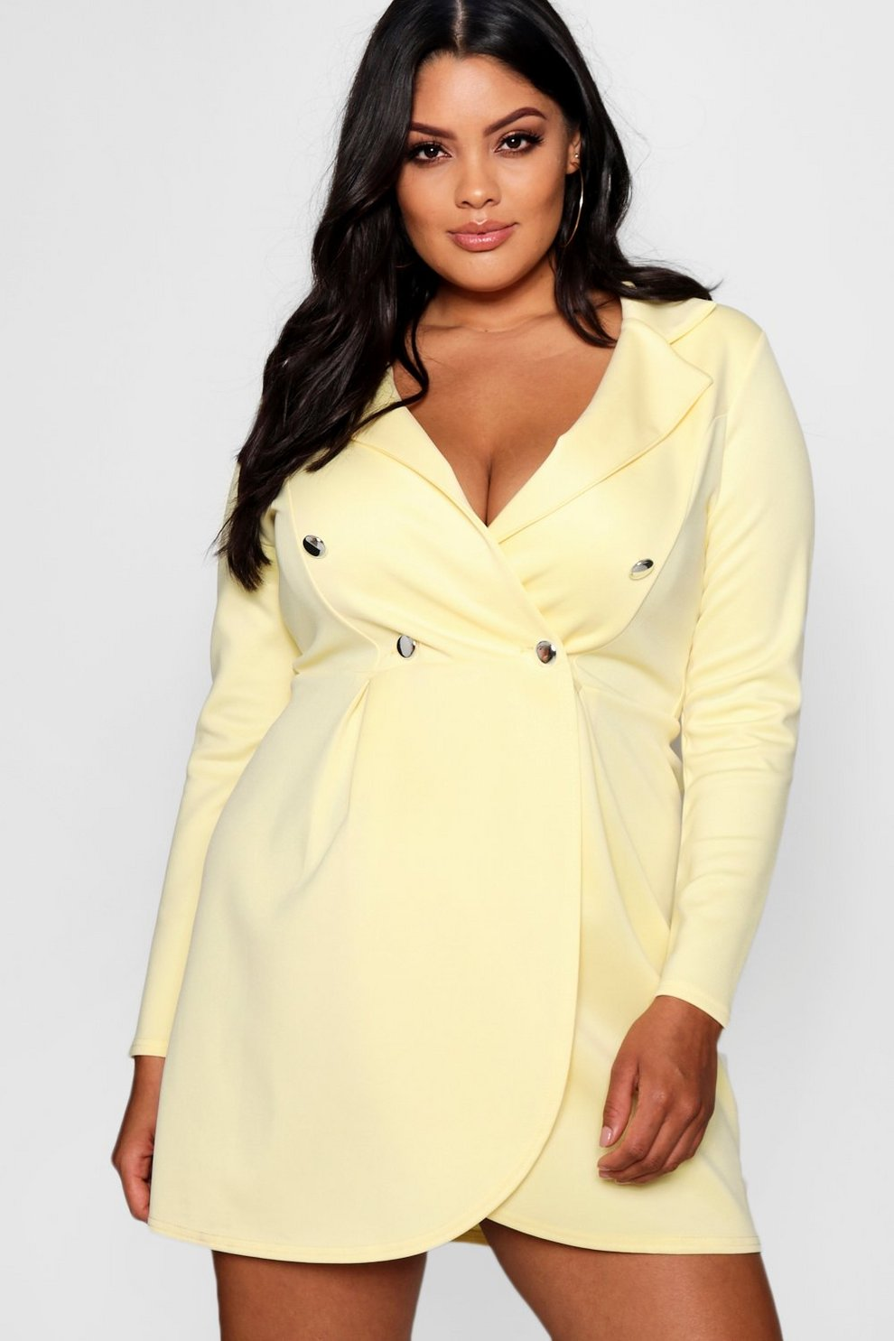 4cec30a12411 Plus Scuba Button Detail Blazer Dress | Boohoo