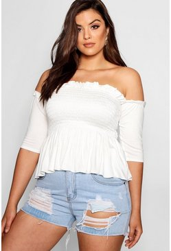 Womens White Plus Sheered Frill Sleeve Bandeau Top