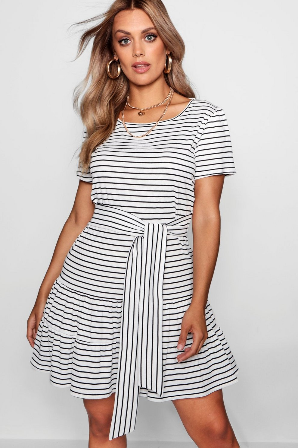2b17788ad390 Womens White Plus Stripe Belted Tiered Smock Dress