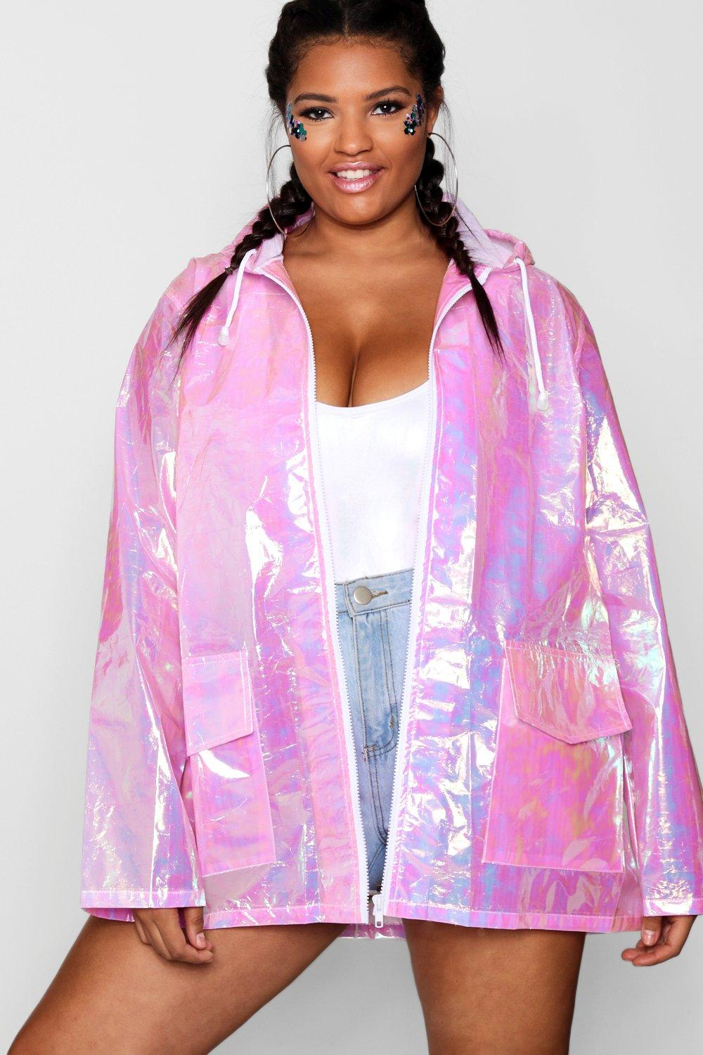 great fit new release picked up Plus Iridescent Pocket Detail Rain Mac | Boohoo UK