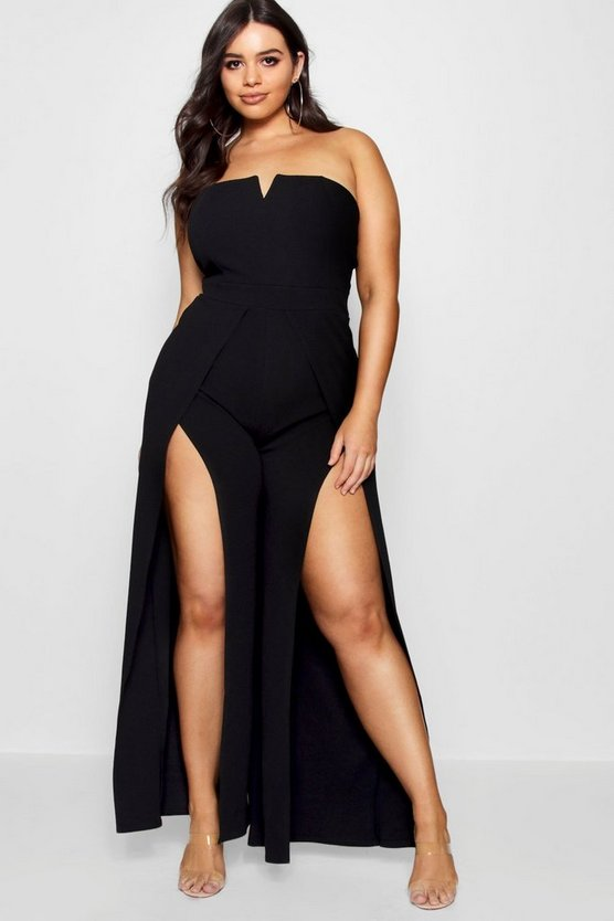 Womens Black Plus Bandeau Jumpsuit