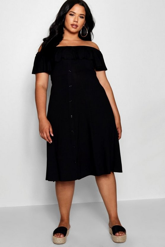 Plus Off Shoulder Button Skater Midi Dress