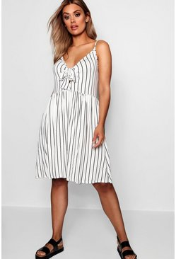 Womens White Plus Tie Front Stripe Split Midi Dress