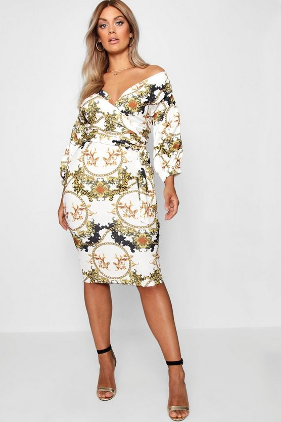 Plus Chain Print Off Shoulder Wrap Midi