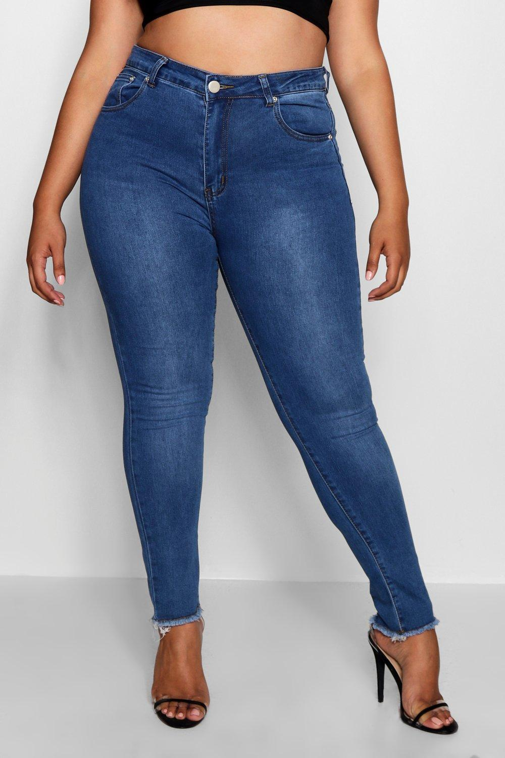 mid blue Stretch Rip Back Skinny Plus Jeans d4xXPPY