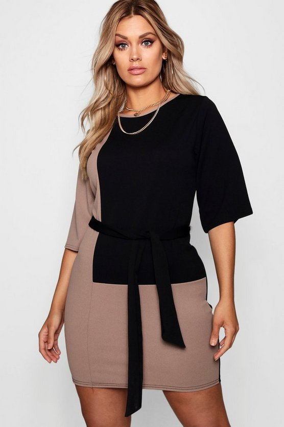 Plus Colour Block Belted T Shirt Dress