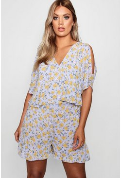 Womens Sky Plus Woven Floral Layered Playsuit
