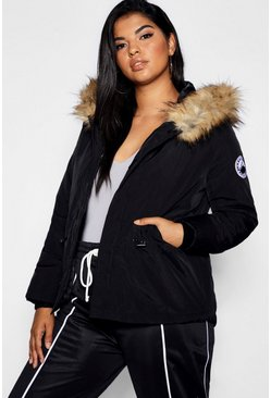 Womens Black Plus Faux Fur Trim Hood Jacket