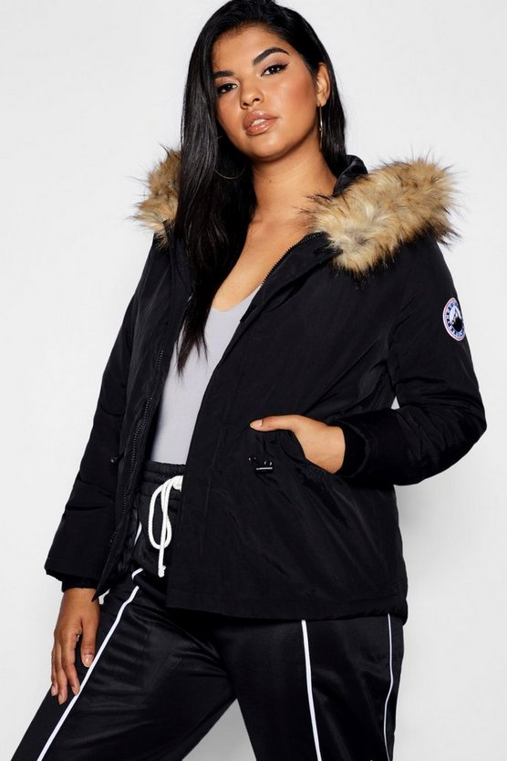 Plus Faux Fur Trim Hood Jacket, Black, Donna