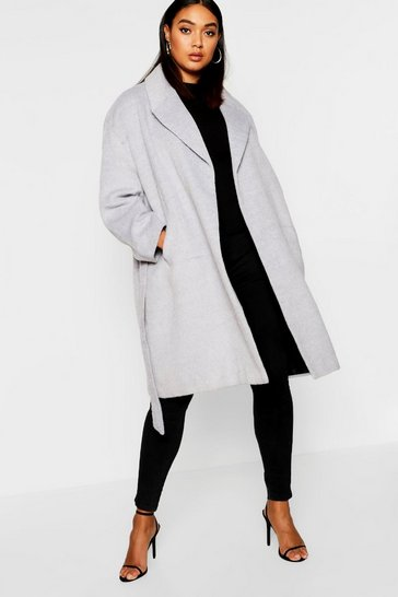 Womens Grey Plus Belted Wool Look Coat