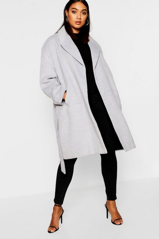Plus Belted Wool Look Coat