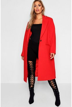 Womens Red Plus Longline Formal Coat